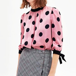$enCountryForm.capitalKeyWord Australia - Women 2018 Women Pink Polka Dots Blouse Bow Tie Sleeves Pullovers Hem Spot Shirt for Contrast Color 3 4 Sleeve Shirt Top