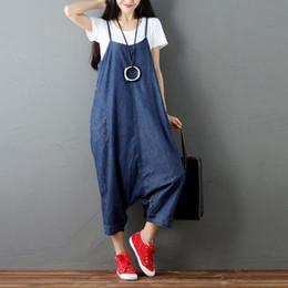 Denim Trouser Jumpsuits Canada - Loose Casual Romper Plus Size Denim Jumpsuit Women Body Suspenders Trousers Big Size Blue Summer Overalls Female Bib Salopette