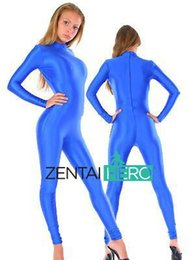 Discount lycra spandex costumes - Free Shipping NEW Royal Blue Color Lycra Spandex Leotard Tights Sexy Zentai Catsuit No Hood MT201 Dropship