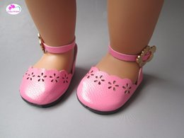 American Leather Shoes Australia - New Fashion PU leather doll shoes for 18 inches 45cm american girl baby born doll accessories