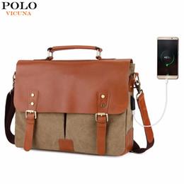 140b0b80c325 VICUNA POLO Vintage Genuine Leather Satchel Messenger Bag For Man Canvas  14   Men Laptop Bags Shoulder Bag Men Briefcase Handbag