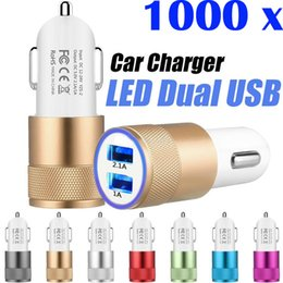 Wholesale 1000pcs Dual Ports Phone Chargers LED USB Charging Plug Adapter Customized V A Car Charger for iPhone Samsung MP4