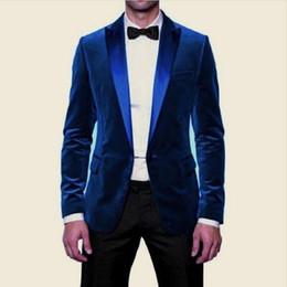 Discount velvet one piece designs - Blue Velvet Evening Party Men Suits 2018 Design Blazer Two Piece Peaked Lapel Black Pants Wedding Groom Tuxedos (Jacket