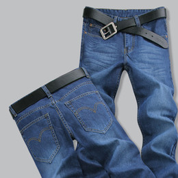 Spring Water Quality Canada - Wholesale-Mens Casual Jeans Spring Autumn Straight Pants Water Washed Blue Jeans Men Plus Size 42 44 High Quality Pant Gift For Husband