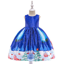Chinese  European and American small and medium girls Christmas deer snowflake dress retro lace stitching satin printed princess dress manufacturers