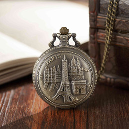 Watches eiffel toWer online shopping - Pair View Pocket Watch Antique Eiffel Tower Bronze Full Hunter Pocket Watches Necklace Fob Clock With Necklace Women Men Gifts