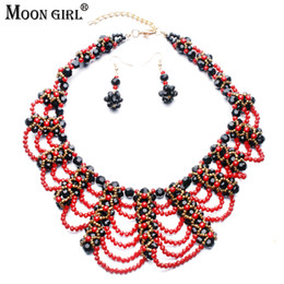 Jade Wedding Sets Australia - MOON GIRL Design Very Luxurious Red Crystal Beads Braid Women's Wedding Party Jewelry Sets Fashion African beads jewelry set