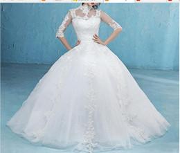 Популярные половины рукава высокого воротника невесты платье простые шаблоны вышивка сексуальные спинки кружева свадебные платья на Распродаже