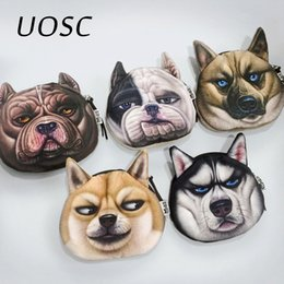 Dog Zipper Australia - UOSC Cute Dog Face Printed Zipper Coin Purses For Kids Students Pencil Case Cartoon Wallet Bag Coin Pouch Children Purse Holder
