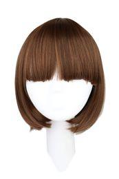 35 Hair UK - wig dark QQXCAIW Short Bob Straight Women Party Natrual Black Light Dark Brown 35 Cm Synthetic Hair Wigs
