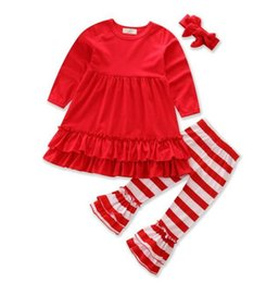 $enCountryForm.capitalKeyWord UK - 2018 Girls babys kids Clothing Sets Ruffled Red T-shirts Tops Lace Striped Pants 2Pcs Fashion Girl Kids Apparel Boutique Enfant Clothes
