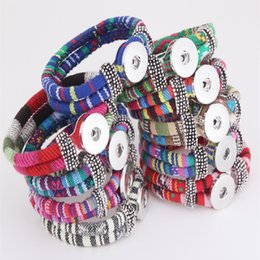 Women's Fashion Charms Braided Leather Bracelets 18MM Snap Button Bracelet Handmade Adjustable Multilayer bangle diy jewelry gifts