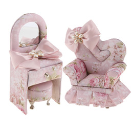 $enCountryForm.capitalKeyWord Canada - 2pcs Pink Butterfly Floral Pattern Fabric Mini 3D Sofa & Dresser Furniture Jewelry Box Storage Holder Decor
