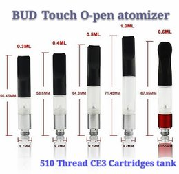 Discount smoke wax vape pen - Top Quality BUD Touch Vaporizer WAX Thick Oil Atomizers 510 Cartridges O Pen CE3 vapor Waxy Smoking Mini Tank vape Co2 C