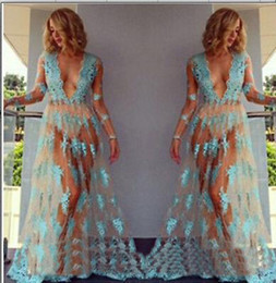Sexy long dreSS dance online shopping - Sexy deep V blue tulle perspectivity lace embroidered full dress voile transparent lace flower pole dancing dress nude sheer beach dress
