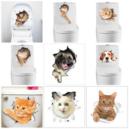 Cats wall stiCkers online shopping - Creative Cartoon Toilet Stickers Stereo D Animal Cat Dog Wall Sticker Cute Self Adhesive Paster Hot Sale cz B