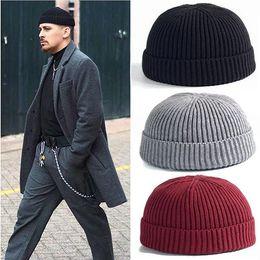 62b9ee1334e9e Men Knitted Hat Wool Blend Beanie Skullcap Cap Brimless Hip Hop Hats Casual  Black Navy Grey Retro Vintage Fashion New