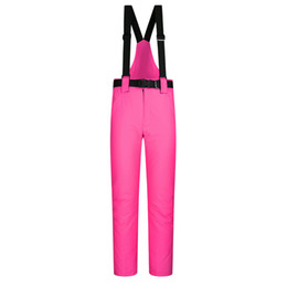 China Outdoor Women Warm Ski Pants with Shoulder Straps Winter Sports Pants Colorful Ski Trousers S-XL Size Waterproof Snowboard supplier pink waterproof trousers suppliers