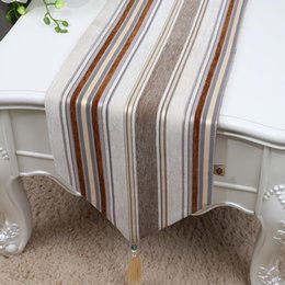 New Classic Stripe Velvet Fabric Table Runner Length Modern Simple Coffee  Tablecloth Europe Style Dining Table Mats Protective