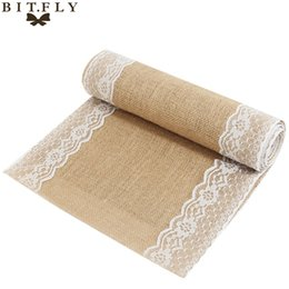 $enCountryForm.capitalKeyWord UK - wedding decorations black 30x275cm Vintage Burlap Lace Hessian Table Runner Natural Jute Country Party Wedding Decoration