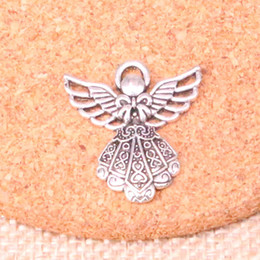 pendants for crafts 2019 - 16pcs Tibetan Silver Plated guardian angel Charms Pendants for Jewelry Making DIY Handmade Craft 26*23mm discount pendan