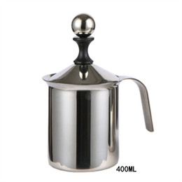 Ingrosso Macchina per schiumare il latte 400cc Cappuccino Macchina per schiumare giapponese a doppia in acciaio inox Macchina per mungere il caffè a gorgogliatore