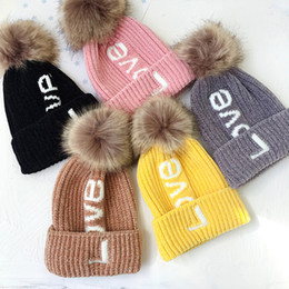 973c5a0208b4bd Pom Winter Hat for Girls Embroidery Love Letters Knitted Beanies Cap Thick Baby  Kids Boys Woolen Warm Hat Hair Ball Bonnet