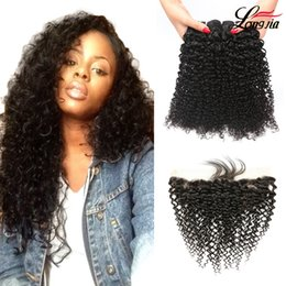 Discount virgin hair kinky curly frontal - Indian kinky curly Hair With Frontal Curly Human hair Bundles with frontal Closure Natural Color Indian Human Virgin cur