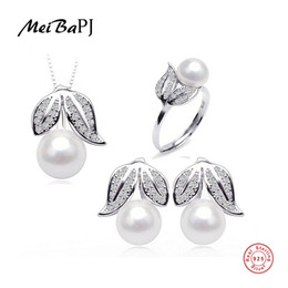 pearl jewelry set price 2019 - [MeiBaPJ]Amazing price 925 sterling silver jewelry 100% real natural freshwater pearl jewelry set for women S18101508 ch