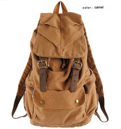canvas horse backpacks UK - Fashion Vintage Crazy Horse Leather Canvas men's backpack School Bag Rucksack Women Backpack Canvas Travel bag