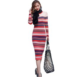 midi sweater UK - New Arrivals Korean Fashion Women Winter Dresses Colourful Striped Long Sleeve Knitted Sweater Dress Slim Waist Midi Wrap Dress