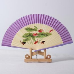 drying fan NZ - Coloured Drawing Spun Silk Fan Women Originality Painting Process Exquisite Bamboo Folding Fans Party Wedding Gifts 5 5my ff