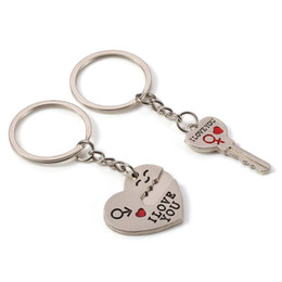 Heart Shaped Chains For Couples Australia - 1pair English Letter Love Heart Shape Key Chain Lock Groove Metal Lover Couple Key Ring For Valentine Day Gift Charm 1 3dl Z