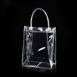 handbag clear plastic bag Canada - 10pcs PVC plastic gift bags with handles plastic wine packaging bags clear handbag party favors bag Fashion PP Bags With Button