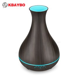 keyboard cool UK - KBAYBO 400ml Aroma Essential Oil Diffuser Electric Wood Grain Ultrasonic Cool Mist Humidifier for Office Home Bedroom LivingRoom