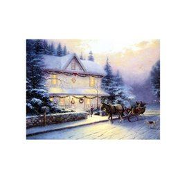 painted christmas canvas UK - Oil Painting Prints on Canvas Wall Art Picture for Living Room Home Decorations Unframed VICTORIAN-CHRISTMAS