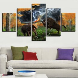 bear decor UK - Poster Modular Canvas Pictures HD Printed 5 Pieces Animal Bear And Bull Lightning Abstract Scenery Painting Frame Wall Art Decor