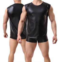 PU Leather Bodybuilding Tank Top Men sexy Sleeveless Shirt Faux Leather Solid Black Fitness Singlet Muscle Clothes Workout Vest