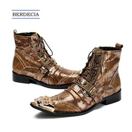 Discount cowboy boots wedding dress - 2018 Brand Italian Men Ankle Boots Metal Pointed Toe Men Short Boots Genuine Leather Gold Lace Up Motorcycle Cowboy Boot