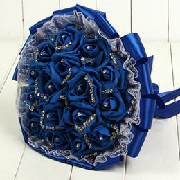 Discount silk flowers holder - Artificial Wedding Bouquets for Bridals Rose Flowers De Mariage Bridal Bouquet Pearls Holder Bouquet Peonies Accessories