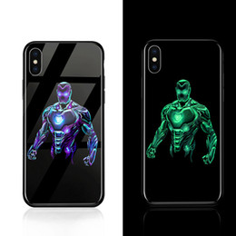 Discount night cooling glasses Hero Cool Night Luminous Glass Case For iphone 7 8 6 6s Plus X DC Comics Phone Cases Coque