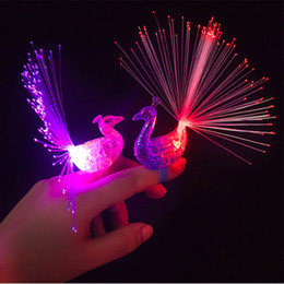Glow Party Decorations Australia - LED Glow Peacock Finger Light Laser Beams Ring Optical Fiber Toy Flash Kid Fluorescent Shiny Neon Flashing Party Decoration