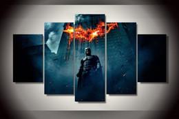 Discount batman dark knight figure - Wall Art Oil Painting Unframed 5 Pieces Batman Begins Dark Knight Painting Room Decoration Print Picture Canvas movie po
