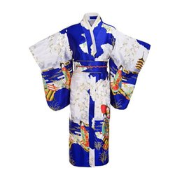Discount japanese kimono cosplay costume - Blue Woman Lady Japanese Tradition Yukata Kimono Bath Robe Gown With Obi Flower Vintage Evening Party Dress Cosplay Cost