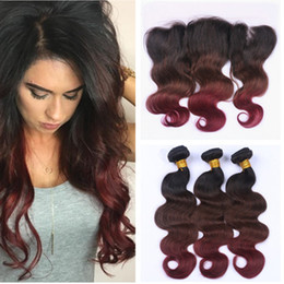 $enCountryForm.capitalKeyWord Australia - Three Tone Colored #1B 4 99J Wine Red Ombre Virgin Indian Human Hair Weaves 3Bundles with Burgundy Ombre 13x4 Lace Frontal Closure