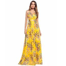 670f146b9d Primavera   verão 2018 womenswear cross cintas posou saia longa de cintura  alta impressão Bohemia e sexy vestido sem costas