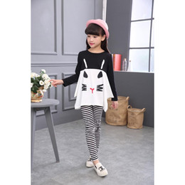 Cute Shirts Leggings NZ - New Cotton Children Clothing 3 4 5 6 7 8 9 10 Year Girls Clothes Long Sleeve Shirts Striped Leggings Kids Suits for Girls