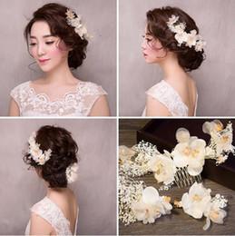 Flower Girl Rhinestone Hair Clips Australia - Korea Bridal Hair Combs Clips Girls White Flower Hairbands Wedding Veil Hair Comb Women Dress Banquet Headpieces Headdress Hair Accessories