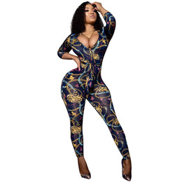 $enCountryForm.capitalKeyWord Australia - Gold Chain Printed Bodycon Jumpsuit for Women 2018 Autumn Deep V Neck Sexy Overalls Long Pants Rompers Womens Catsuit with Belt
