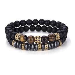 Hematite Jewelry Sets NZ - 2 Pcs Set Black Matte Beads Hematite Bracelet Luxury Zirconia Paved Tiger Eyes Couple Braclet For Mens Hand Jewelry Accessories